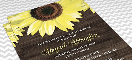 Rustic Bridal Shower Invitations - Sunflower and Wood