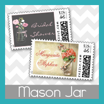 mason jar bridal shower rustic bridal shower postage stamps