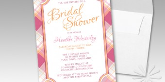 Pink & Orange Plaid Bridal Shower Invitations