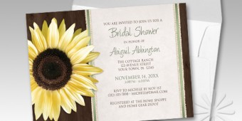 Country Wood Brown Green Sunflower Bridal Shower Invitations