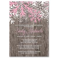 d0741f39947 Bridal Shower Invitations - Pink Snowflake Rustic Winter Wood ...