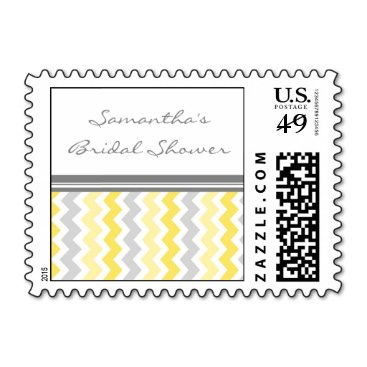 Yellow Chevron Bridal Shower Wedding Stamps