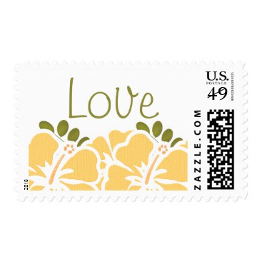 Yellow Hibiscus Love Postage Wedding Stamps