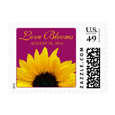 Yellow Sunflower Berry Pink Love Blooms Wedding Stamps